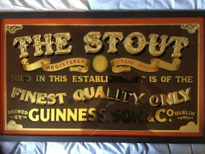 The Stout handpainted glass sign