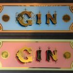 Handpainted glass gin signs