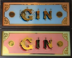 Handpainted glass signs - Gin