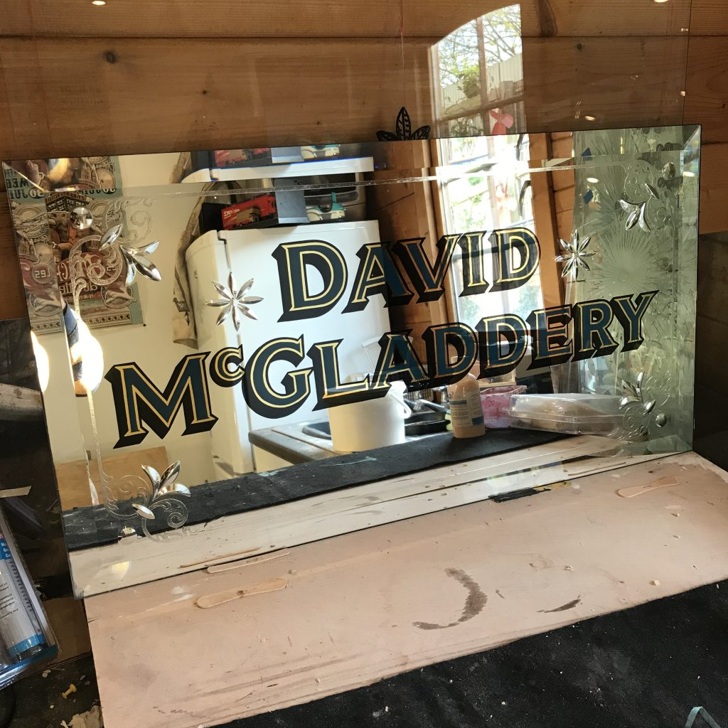 Signwritten cut glass pub mirror